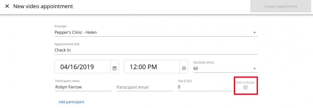 Automatically create a roster profile when booking appointments with a first time patient.