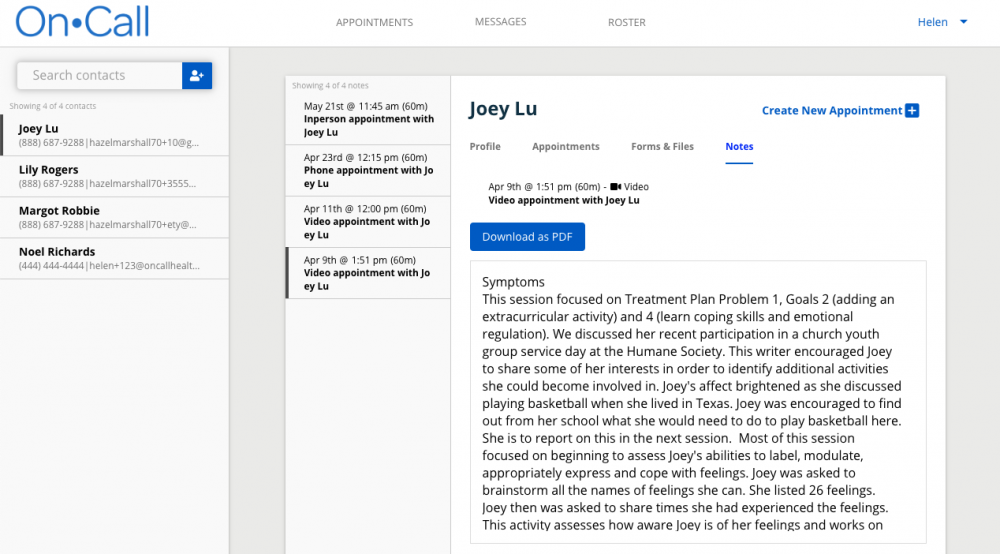 View all notes associated with specific appointments.